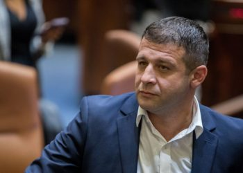 New Knesset member Alex Kushnir of the Israel Beytenu party, during a tour of the Plenary Hall at the Knesset ahead of the opening of the Knesset next week, on September 25, 2019. Photo by Yonatan Sindel/Flash90 *** Local Caption *** ????? ???? ???? ???? ??????  ????? ???? ???? ???? ????? ???? ????? ????? ???? ??????