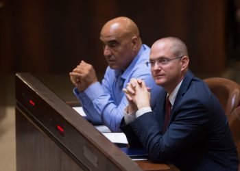 Israel Beyteinu parliament member Oded Forer (R) seen after being sworn in to the Israeli parliament, in the plenum hall of the Knesset, the Israeli parliament in Jerusalem on September 7, 2015. Photo by Yonatan Sindel/Flash90 *** Local Caption *** ???? ???? ????  ?''?  ????? ????? ????? ?????