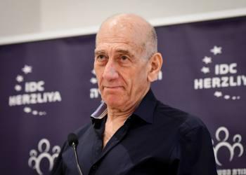 Former Israeli prime minister Ehud Olmert speaks during International Holocaust Remembrance Day Ceremony in memory of holocaust survivor Meir Grant, in Herzliya, January 27, 2020. Photo by Avshalom Sassoni/Flash90 *** Local Caption *** ??? ??? ????? ???? ???? ???? ??? ????? ????????? ???? ??????