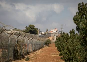 "The border fence between Israel and Lebanon, once known as the ""Good Fence"" seen through an apple tree field outside the Northern Israeli town of Metula, on November 19, 2017. Photo by Hadas Parush/Flash90 *** Local Caption *** ????? ???? ???? ???? ????? ????? ???? ????? ????"