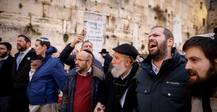 Jewish men take part in a special prayer in order to stop the Coronavirus epidemic, at the Westren Wall, Judaism's holiest prayer site in the Old City of Jerusalem, February 16, 2020. Photo by Olivier Fitoussi/Flash90 *** Local Caption *** ???? ??????? ???? ?????? ???? ??? ????? ?????? ????? ????? ????? ??????