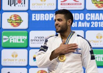 Israel's Sagi Muki receives the gold medal on the podium after winning in the men's under 81 kg weight category during the European Judo Championship in Tel Aviv on April 27, 2018. Photo by Roy Alima/Flash90 *** Local Caption *** ?????? ?????? ???? ???? ???? ?????? ?'??? ???? ????? ?????