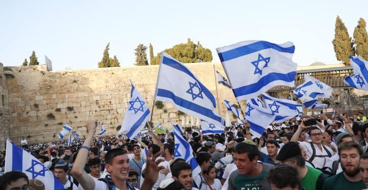 Jews celebrate Jerusalem day at the Western Wall in Jerusalem Old City during Yom Yerushalayim (Jerusalem Day), June 2, 2019. Photo by Noam Revkin Fenton/Flash90 *** Local Caption *** ???? ??? ??????? ??? ?????? ?????