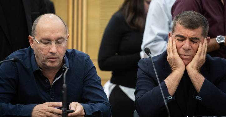 Blue and White party party members Gabi Ashkenazi and Avi Nissankoren during a faction meeting at the Knesset, the Israeli parliament in Jerusalem, on November 25, 2019. Photo by Hadas Parush/Flash90 *** Local Caption *** ??? ????? ???? ??????  ????? ???? ???? ??? ??? ?????? ??? ????????