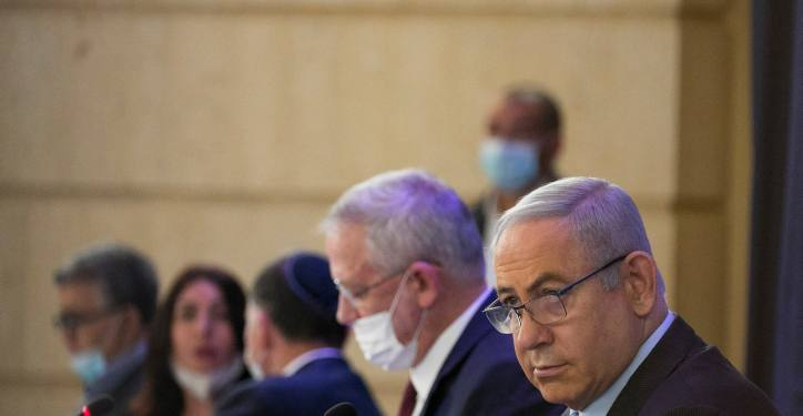 Israeli prime minister Benjamin Netanyahu and Alternate Prime Minister and Minister of Defense Benny Gantz at the weekly cabinet meeting, at the Ministry of Foreign Affairs in Jerusalem on June 28, 2020. Photo by Olivier Fitoussi/Flash90 *** Local Caption *** ????? ????? ??? ?????? ?????? ?????? ???? ??? ??? ?? ???????