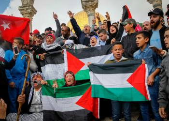 Palestinians shout slogans during a protest against US President Donald Trump's announcement that he recognized Jerusalem as the capital of Israel, after Friday prayers at the Al Aqsa compound in Jerusalem's Old City, on December 15, 2017. Photo by Sliman Khader/Flash90 *** Local Caption *** ??????? ??????? ????????? ????????? ?? ???? ???? ???? ???? ?? ???? ?????