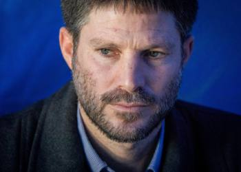 Transportation Minister Bezalel Smotrich visits at the protest tent of Heads of Judea and Samaria and Jordan Valley councils in support of sovereignity, outside of the Prime Ministers office in Jerusalem, February 6, 2020. Photo by Yonatan Sindel/Flash90 *** Local Caption *** ????? ??????? ???? ???? ???? ????? ????? ??????? ?? ???????