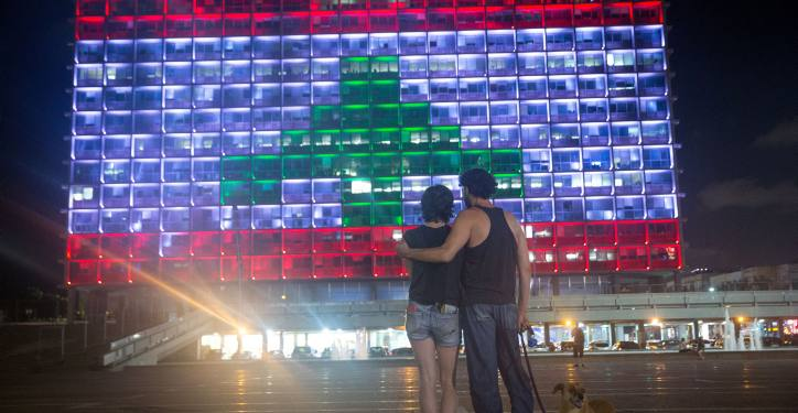 The Tel Aviv municipality on Rabin square, is lit up with the Lebanese flag, in solidarity with the victims who were killed in the Beirut explosion, on August 5, 2020. Photo by Miriam Alster/Flash90 *** Local Caption *** ???? ???? ?? ???? ????? ????? ??? ?????