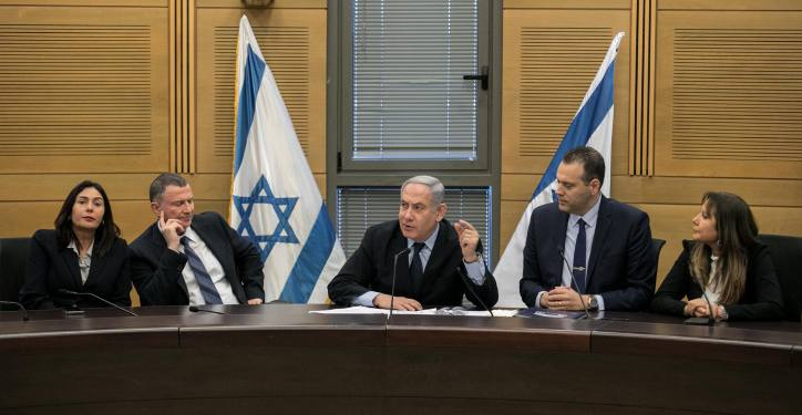 Prime Minister Benjamin Netanyahu during a Likud party meeting at the Knesset, the Israeli parliament in Jerusalem on February 9, 2020. Photo by Olivier Fitoussi/Flash90 *** Local Caption ***  ???? ??????  ????? ???? ??? ?????? ?????? ?????? ??????