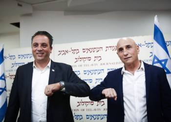 Roee Cohen, The president of the Israel Chamber of Independent Organizations and Businesses (LAHAV) and MK Ofer Shelach hold a press conference in Tel Aviv on December 24, 2020, announcing the establishment of a new party. Photo by Miriam Alster/Flash90 *** Local Caption *** ???? ???? ??? ????? ????? ???? ???? ??? ??? ???