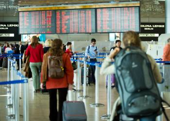 **FILE 26.02.2015**  Travellers seen at the departure terminal at the Ben Gurion International Airport, near the Israeli city of Tel Aviv, on February 26, 2015. Photo by Moshe Shai/FLASH90 *** Local Caption *** ???'? ?? ?????? ??? ?????  ??? ?????  ?????? ????