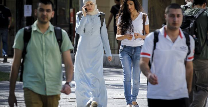 "Israeli-Arab students seen at the campus of ""Givat Ram"" at Hebrew University on the first day of the new academic year. October 26, 2014. Photo by Miriam Alster/FLASh90   *** Local Caption *** ??????  ??? ???????  ????? ?????  ???? ??  ??????????  ????????  ?????  ???????"