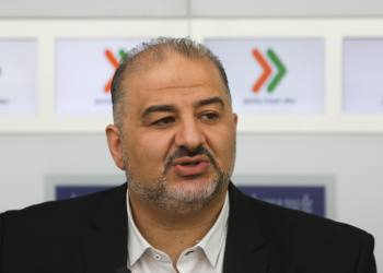 "Mansour Abbas of the Ra'am-Balad party hold a press conference after a meeting with Israeli president Reuven Rivlin at the President's Residence in Jerusalem on April 16, 2019, as Rivlin began consulting political leaders to decide who to task with trying to form a new government after the results of the country's general election were announced a few days ago. Photo by Noam Revkin Fenton/Flash90 *** Local Caption *** ???? ?????? ?? ????? ??????????? ?? ??????? ?????? ?????? ?????? ??? ????? ????? ???? ?????? ???????? ??""? ??""?"