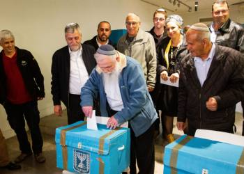 Rabbi Haim Drukman casts his vote at the Jewish home party preliminary elections in Ramat Gan on February 4, 2019. Photo by Flash90 *** Local Caption *** ???? ?????? ????? ????? ????? ??????? ????? ???? ???????? ???? ??????