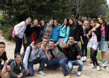 Religious youth from the southern of Israel enjoy a break from the bombing that is taking place now at their homes. March 12 2012. Photo by Gershon Elinson/Flash90 *** Local Caption *** ??? ???? ????? ????? ???? ???? ????? ????? ?????