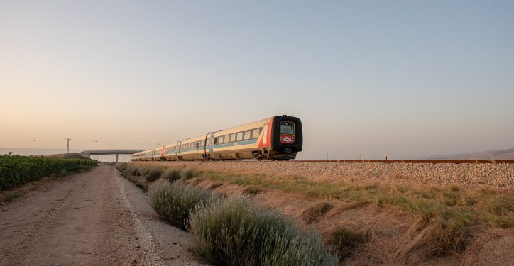 A train passes by a field  of sunflowers near Latrun on, may 25, 2018. Photo by Mila Aviv/Flash90 *** Local Caption *** ?????? ????? ??? ??? ???? ????? ????  ????? ??? ????