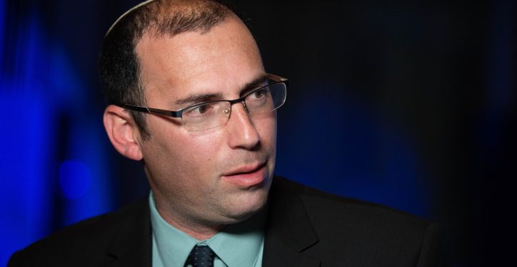"""Religious Zionist Party member Simcha Rotman, seen at the party headquarters in Modi'in, on elections night, March 23, 2021. Photo by Sraya Diamant/Flash90 *** Local Caption *** ?????? ???? ?????? ?????? ???? ?????? 2021 ????  ????? ??""""?"""
