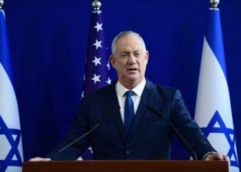 US Secretary of Defense Lloyd Austin and Israeli Defense minister Benny Gantz hold joint statements at HaKirya military base, in Tel Aviv on April 11, 2021. Photo by Tomer Neuberg/Flash90 *** Local Caption *** ?? ???? ?????? ??????? ??? ??? ??? ???? ?????? ?????