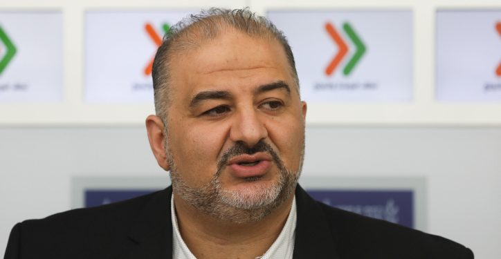 """Mansour Abbas of the Ra'am-Balad party hold a press conference after a meeting with Israeli president Reuven Rivlin at the President's Residence in Jerusalem on April 16, 2019, as Rivlin began consulting political leaders to decide who to task with trying to form a new government after the results of the country's general election were announced a few days ago. Photo by Noam Revkin Fenton/Flash90 *** Local Caption *** ???? ?????? ?? ????? ??????????? ?? ??????? ?????? ?????? ?????? ??? ????? ????? ???? ?????? ???????? ??""""? ??""""?"""