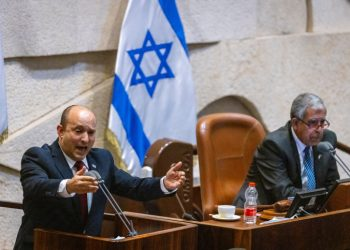 Israeli Prime Minister Naftali Bennett speaks during a plenum session in the assembly hall of the Israeli parliament, on July 12, 2021. Photo by Olivier Fitoussi/Flash90 *** Local Caption *** ????? ???? ????? ??? ??? ?????? ???? 40 ??????