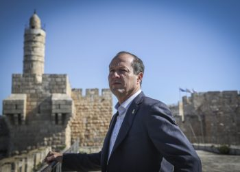 Jerusalem mayor Nir Barkat seen on top of the Tower of David Museum, on April 14, 2015. Barkat toured the museum exploring ideas for developing the sites to attact more visitors. Photo by Hadas Parush/Flash90 *** Local Caption *** ??? ???? ??? ???? ??????? ??? ????? ??????? ???? ???? ????? ????? ??????