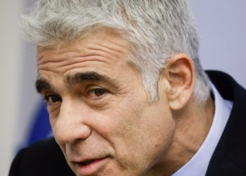 Head of the Yesh Atid party Yair Lapid speaks during a faction meeting at the Knesset, the Israeli parliament in Jerusalem, on June 21, 2021. Photo by Olivier Fitoussi/Flash90 *** Local Caption *** ???? ???? ?? ???? ???? ????