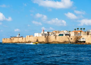 View of the fortification of the old city Akko from boat. Israel.