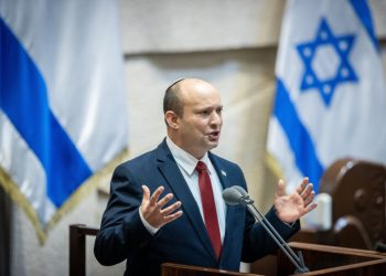 Israeli Prime Minister Naftali Bennett at the assembly hall for a special session in memory of Zeev Jabotinsky, in the Knesset, the Israeli Parliament in Jerusalem on July 13, 2021. Photo by Yonatan Sindel/Flash90 *** Local Caption *** ????? ???? ??? ?????? ?? ?'???????? ??? ?????? ????? ??? ????