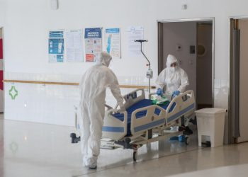 Ziv hospital team members wearing protective clothes as they work at the Coronavirus ward of the Ziv medical center in the northern Israeli city of Tzfat, on October 7, 2020. Photo by David Cohen/Flash90 *** Local Caption *** ????? ???? ????? ?????? ????? ???? ????? ??? ??? ?????? ????? ?????? ???????