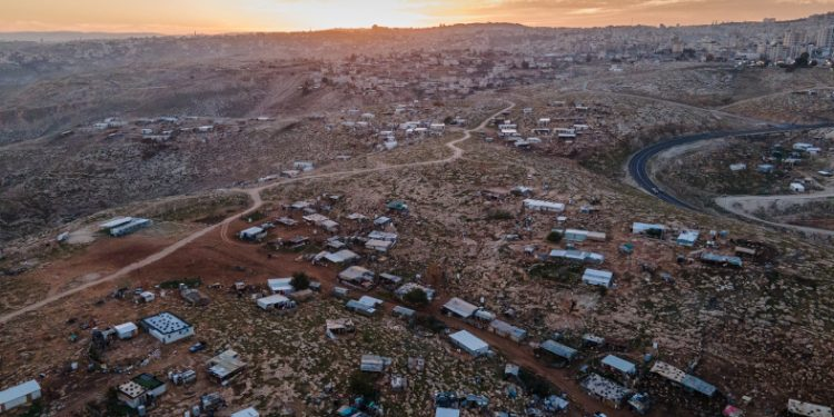 View of a Bedouin village (front) and the Palestinian village of az-Za'ayyem (back) near Ma'ale Adumim, in the West Bank, January 26, 2021. Photo by Yaniv Nadav/Flash90 *** Local Caption *** ???? ????? ?????? ???? ???  ????? ?-????? ??????