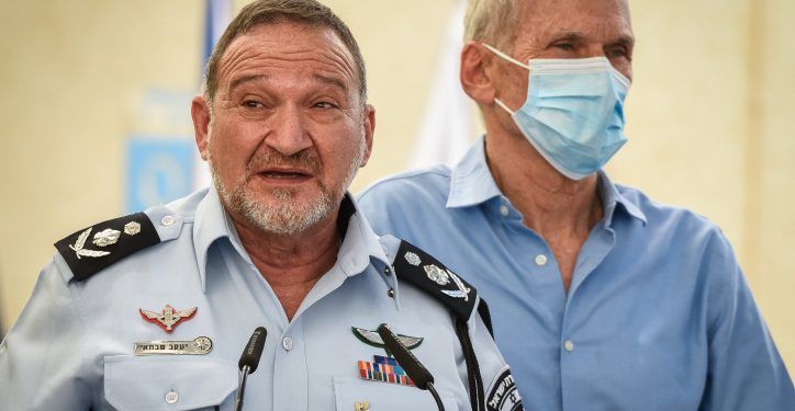 """Chief of Police Kobi Shabtai during an inauguration ceremony marking the opening of a new police station in the Northern Israeli city of Kiryat Ata, August 11, 2021. Photo by Roni Ofer/Flash90 *** Local Caption ***  ?? ?????? ???? ???""""? ????? ???? ?????"""